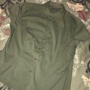 Cap Sleeve Button Down Shirt